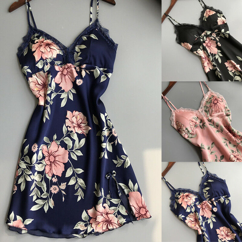 Women Lace Floral Silk Gown Sleeveless Dress