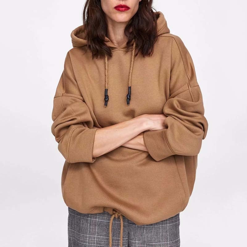 Solid Patchwork Pockets Regular Oversize Sweatshirt
