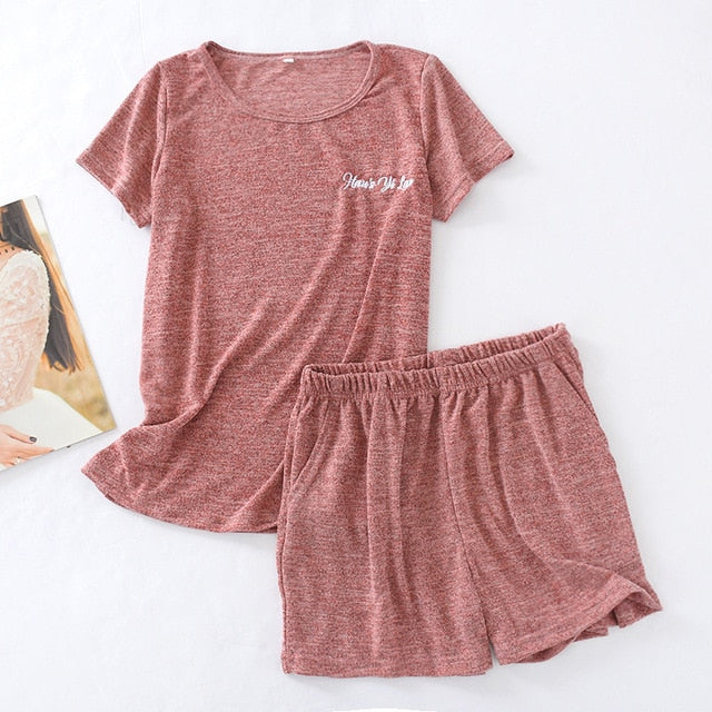 Simple Solid Color Thin Loose Plus Size Cotton Sleepwear