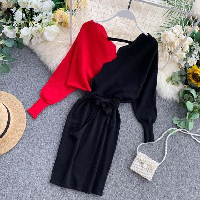 Elegant Sashes V Neck Knit Dress