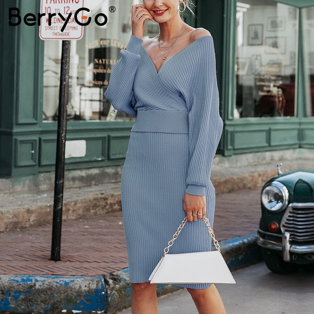 V-neck knitted Two-piece batwing sleeve sweater dress