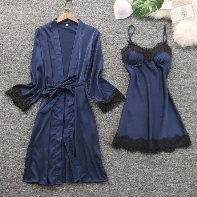 Silk Robe Gown Set Summer Sleepwear