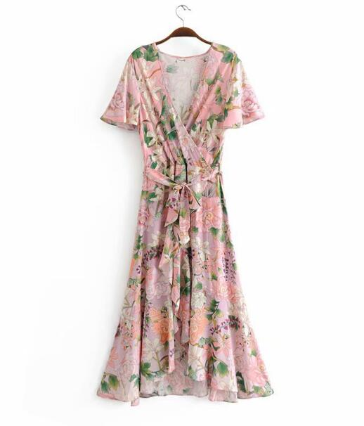 Women Bohemian V neck Crane Flower Print Dress
