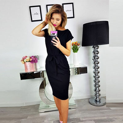 Solid O-neck Short Sleeves Lacing Dress
