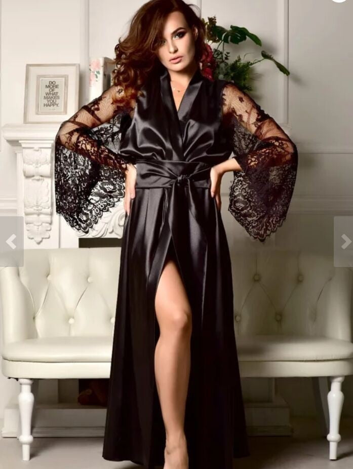 Stain Sleeping Robe Thin Plus Size Silk Sleepwear