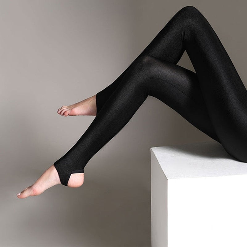 Women Shiny Black Legging