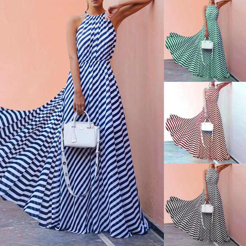 Women Stripe Long Dresses Summer Boho Sleeveless Maxi Dress