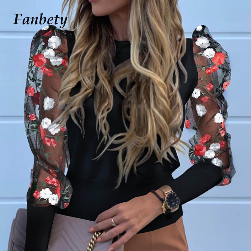 Lady Embroidery Lantern Sheer Mesh Sleeve Blouse shirts