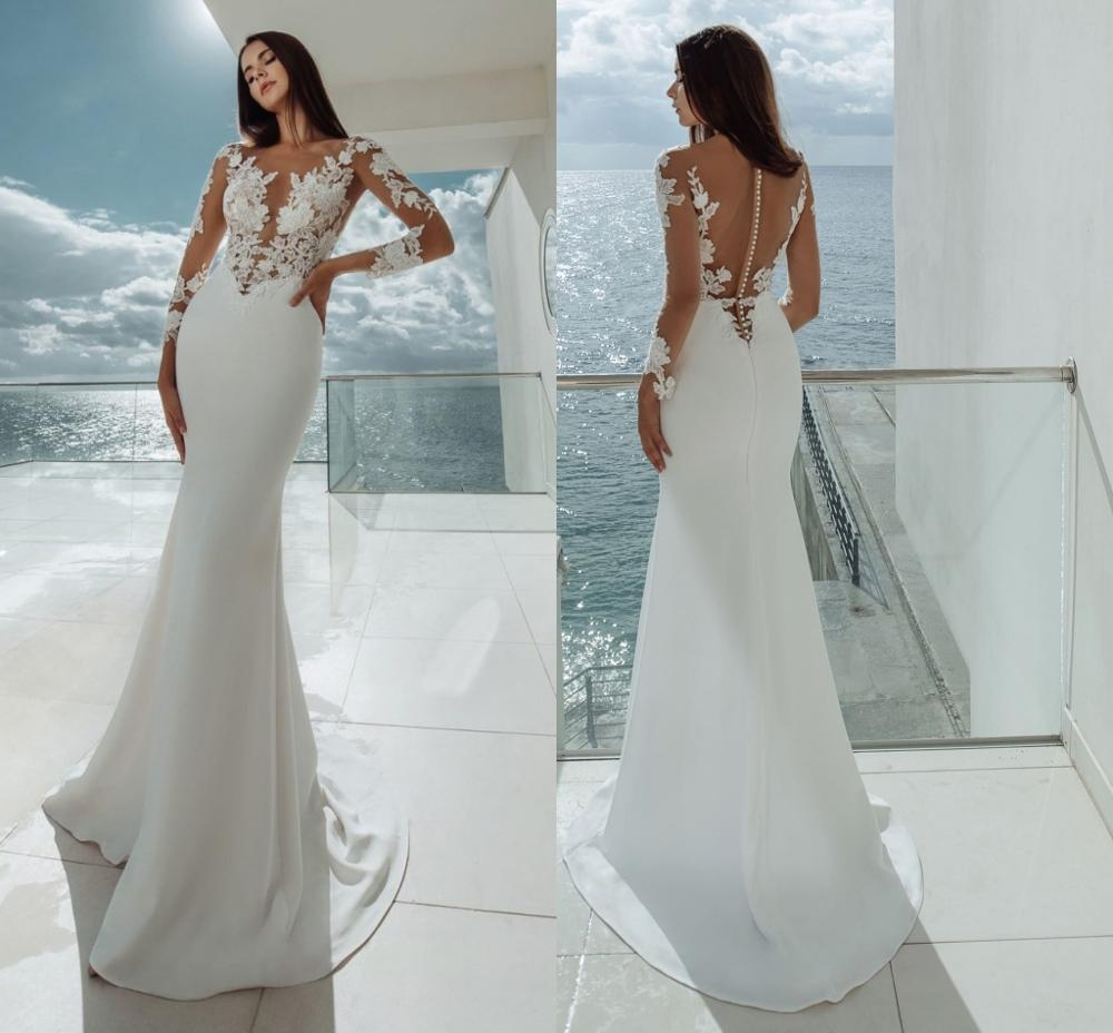 Sheer Boho Satin Wedding Dresses