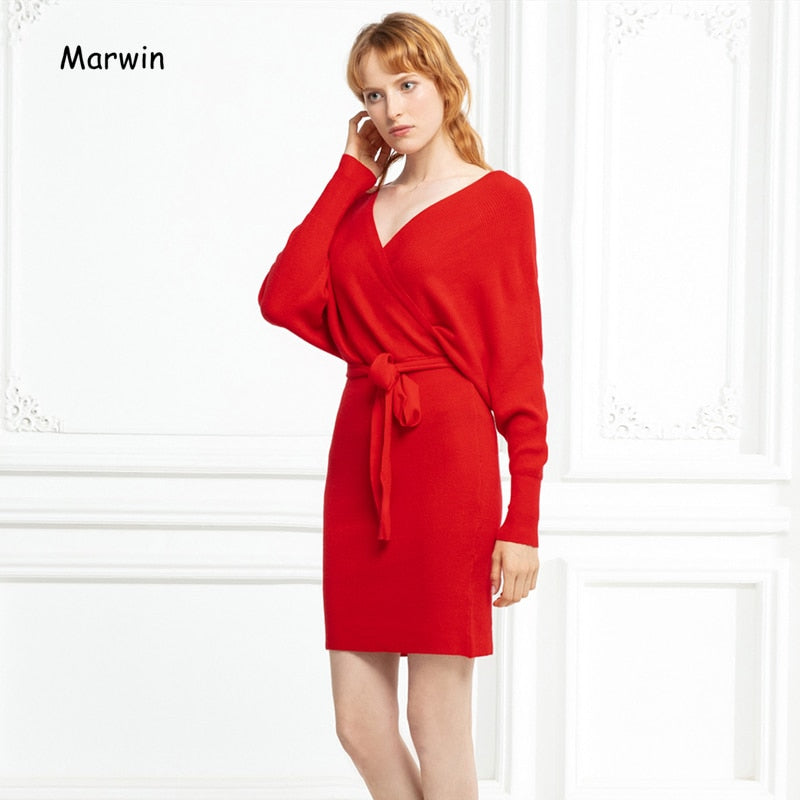 Solid Batwing Sleeve Belt High Street Style V-Neck dress
