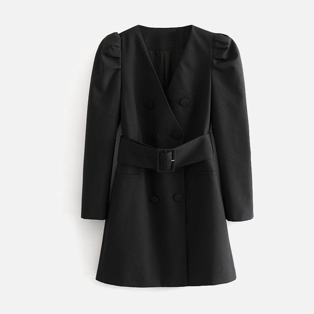 Long Puff Sleeve Double Breasted Female Jackets