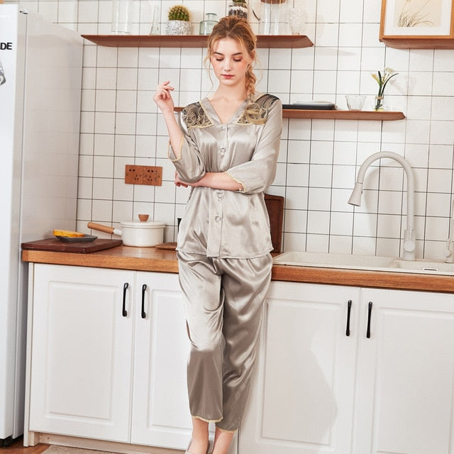 Women Summer Sleepwear 3/4 Sleeve Lace Patchwork Nightwear