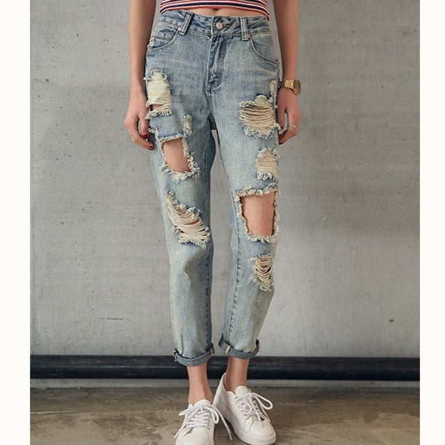 Fashion Women Destroyed Slim Denim Jean