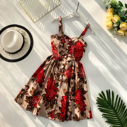 Floral Print Spaghetti Strap Mini Short Dress