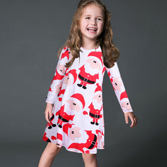 Casual Cartoon Print Loose Long Sleeve Dress
