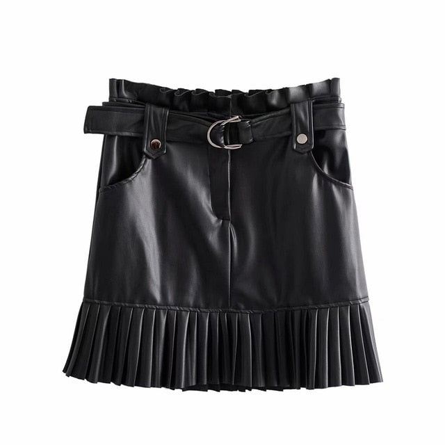 Small pleated imitation leather mini-step cake skirt