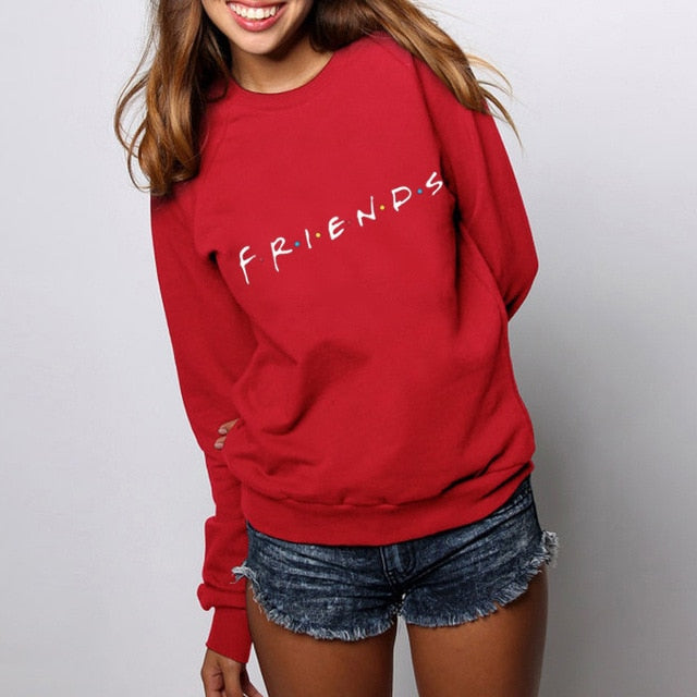 Womens Letters FRIENDS Print Long Sleeve Hoodie