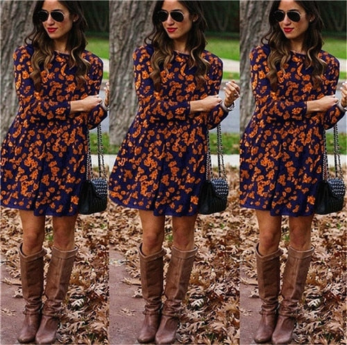 Women Long Sleeve Floral Midi Dress