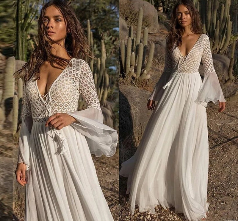New Lace Chiffon V-neck Boho Cheap Wedding Dresses
