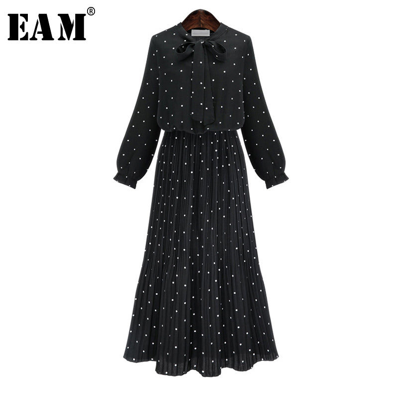 Round Neck Long Sleeve Chiffon Dot Loose Dress