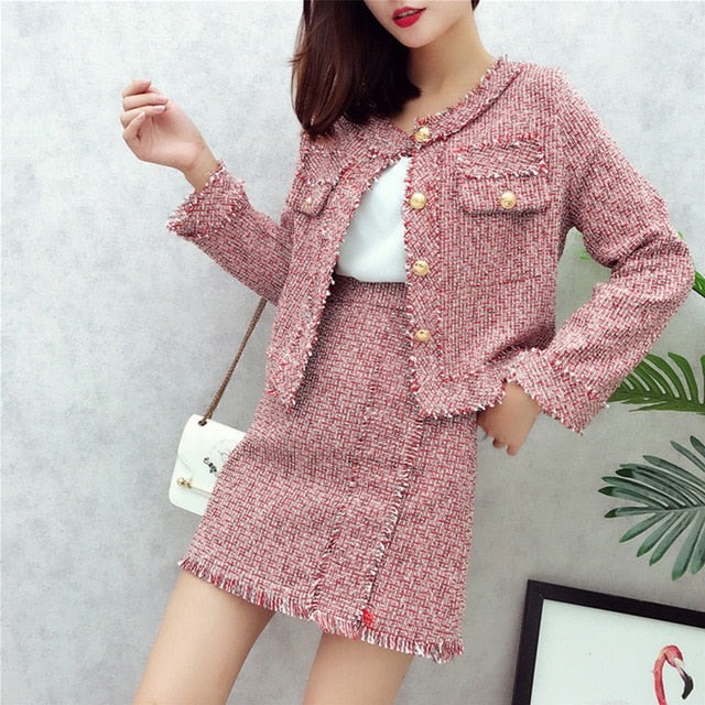 Women's Single Breasted Short Jacket Coat + High Waist Tassels