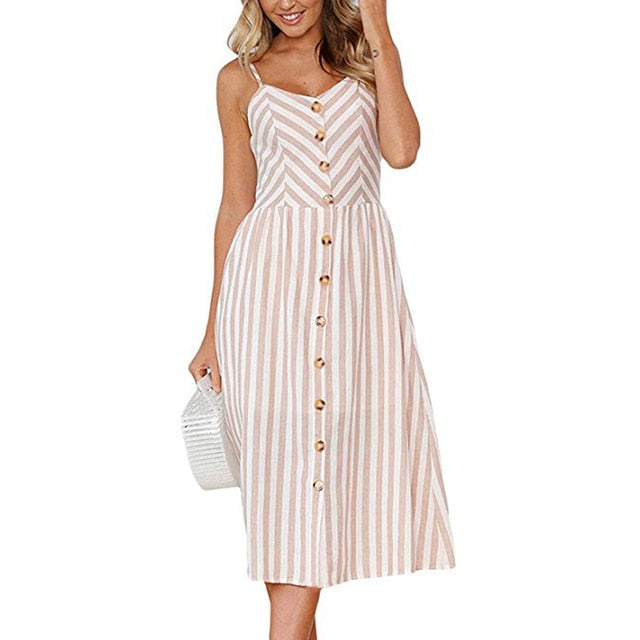 Casual Vintage Sundress Midi Button Backless Dress