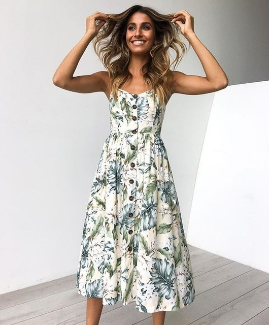 Casual Female Sundress Midi Dress