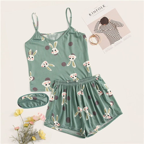 Rabbit Print Polka Dot Pajamas For Women