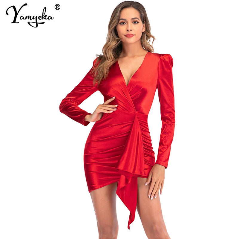 Puff Long sleeve Red Satin Dress