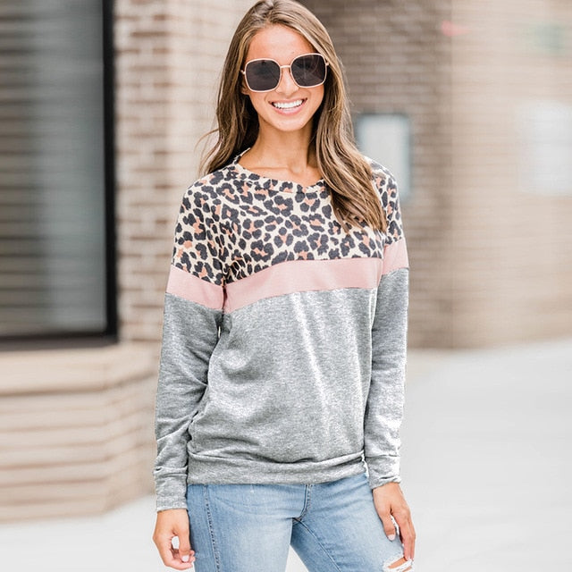 Fashion Women Casual Long Sleeve Leopard T shirt