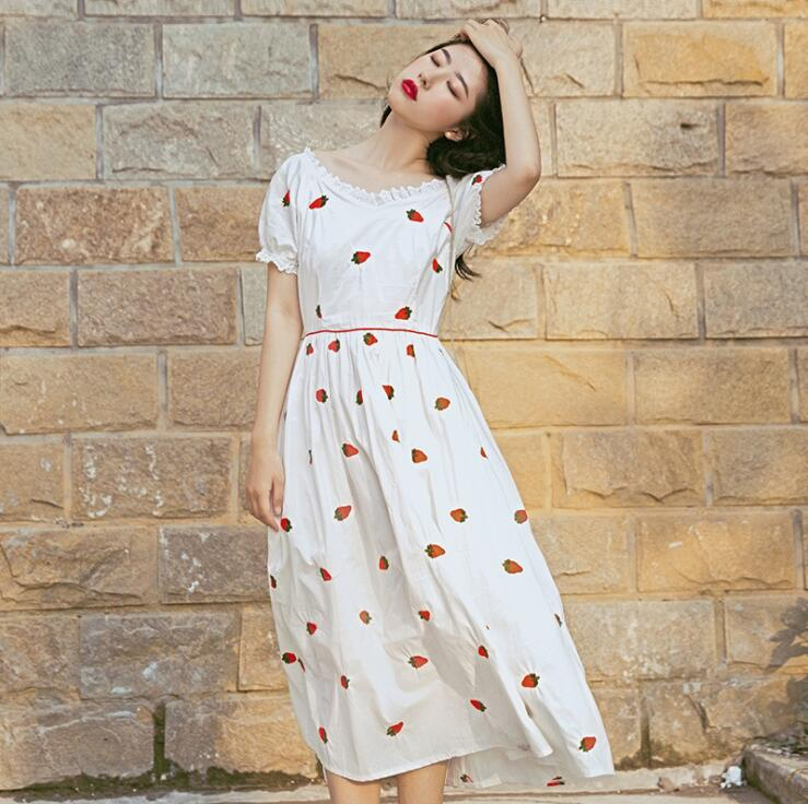 French Vintage Strawberry Print Dress