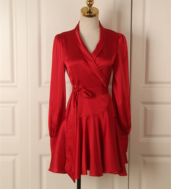 V Neck Lantern Sleeve Ruffle Sash Mini Wrap Dress
