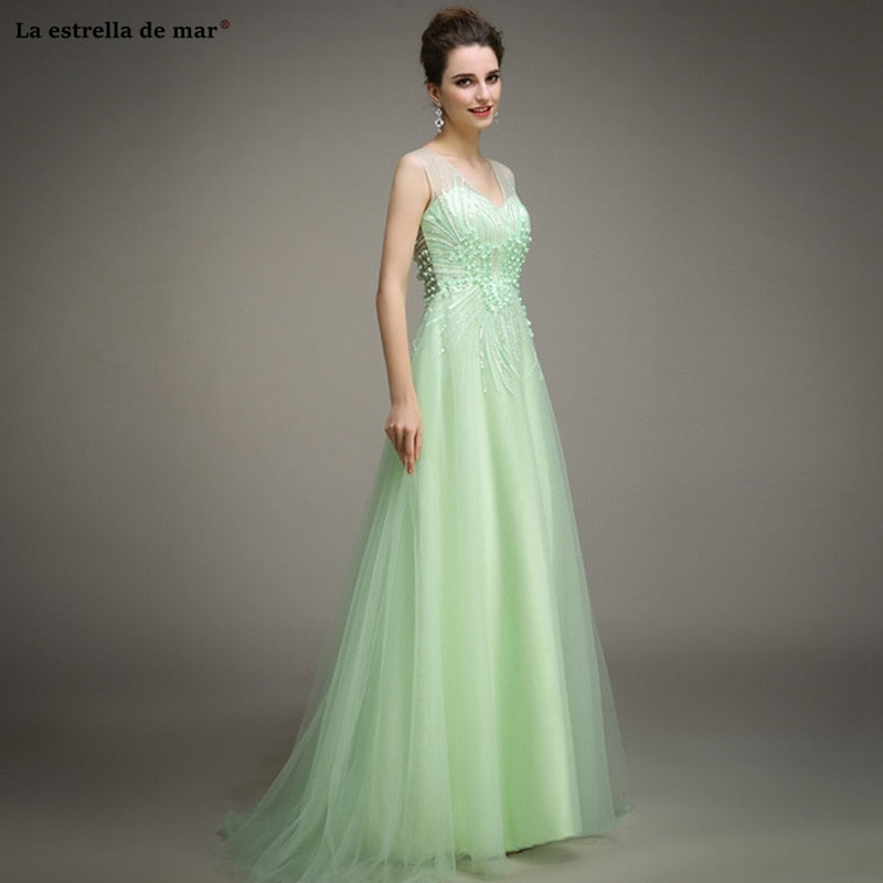 New Scoop neck tulle crystal mint dress