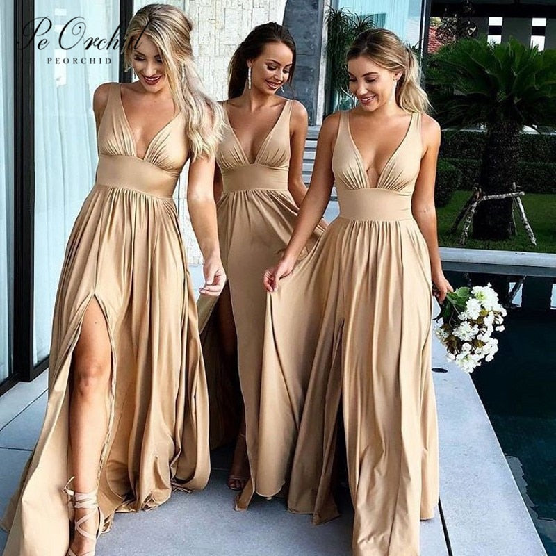Champagne Bohemian Bridesmaid Dress