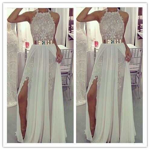 Beach Lace Chiffon prom gown dresses