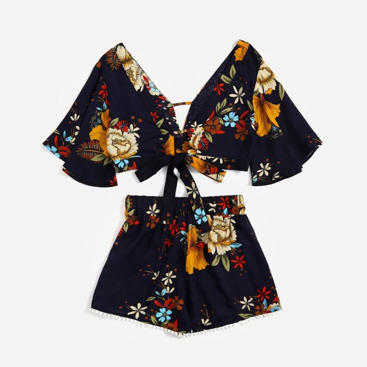 Crop Top Floral Set Bow Summer 2 Piece Set