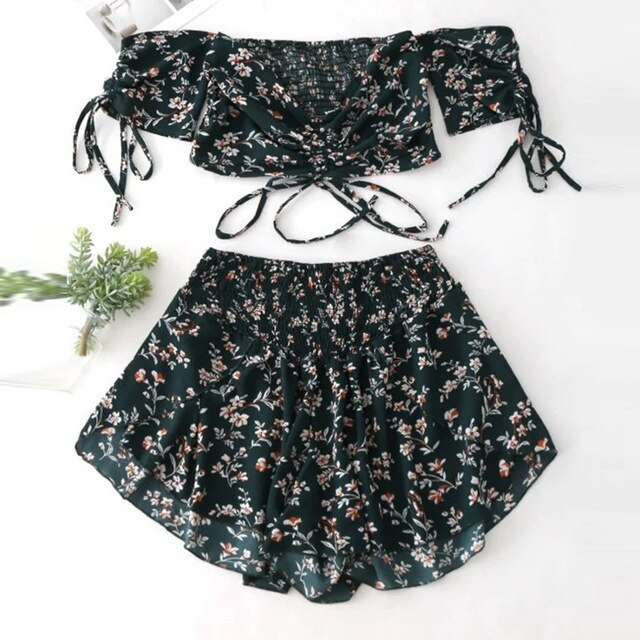 Women Off Shoulder Sleeves High Waist Shorts Set