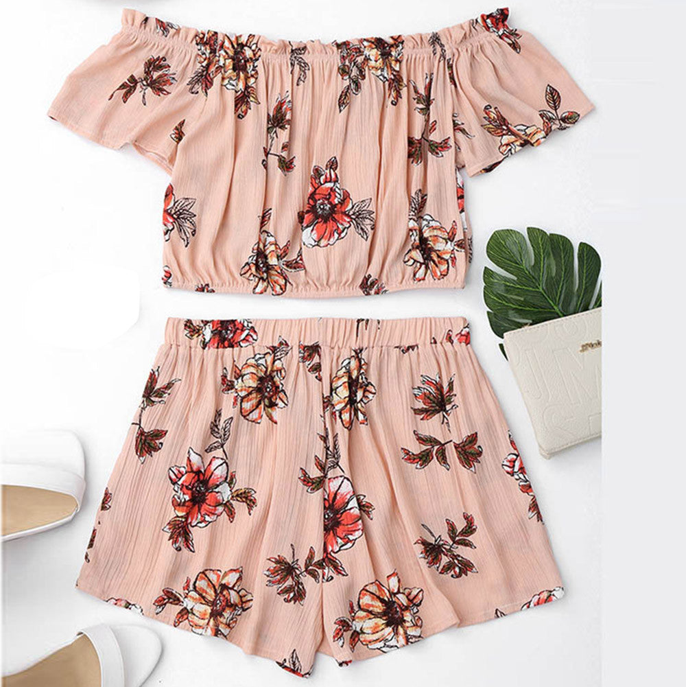 Women Off Shoulder Slash Neck Two Piece Set