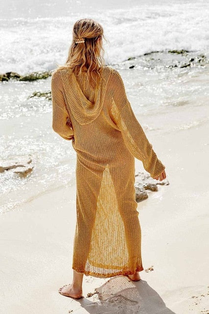 Sexy V-Neck Hoodie Knitted Dress Long Tunic Swim Suit Cover Up