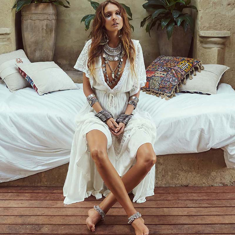 Swimsuit White V Neck Bat Sleeves Loose  Cover up