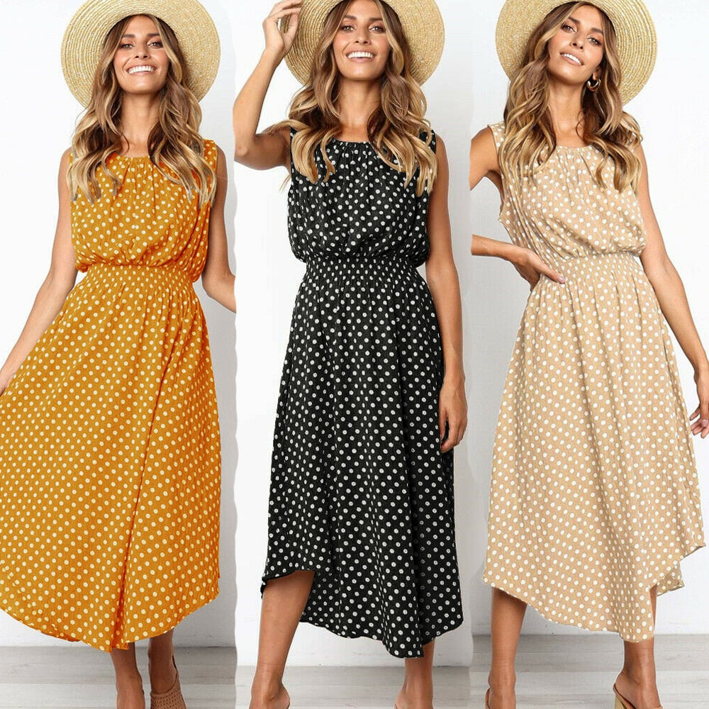 Fashion Women Summer Boho Dot Long Maxi Dress