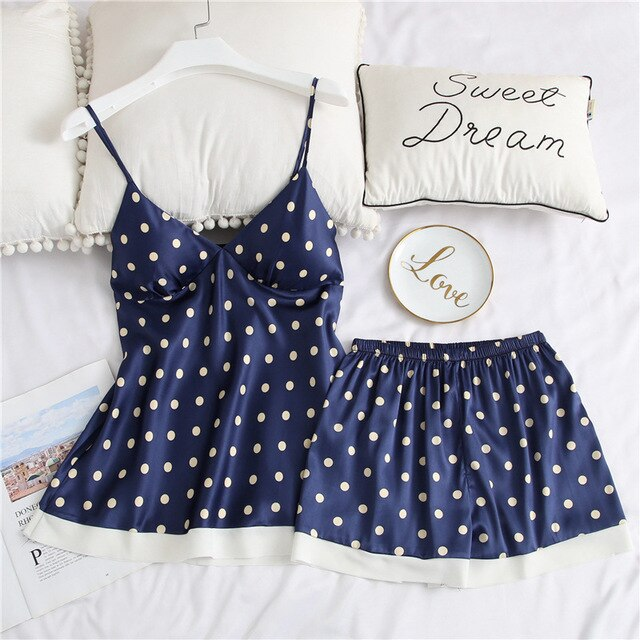 Dot Print 2 Piece Sexy Spaghetti Strap Pyjamas with Chest Pads