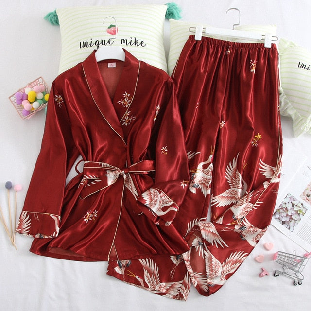 Satin Nightwear Robe Pijamas