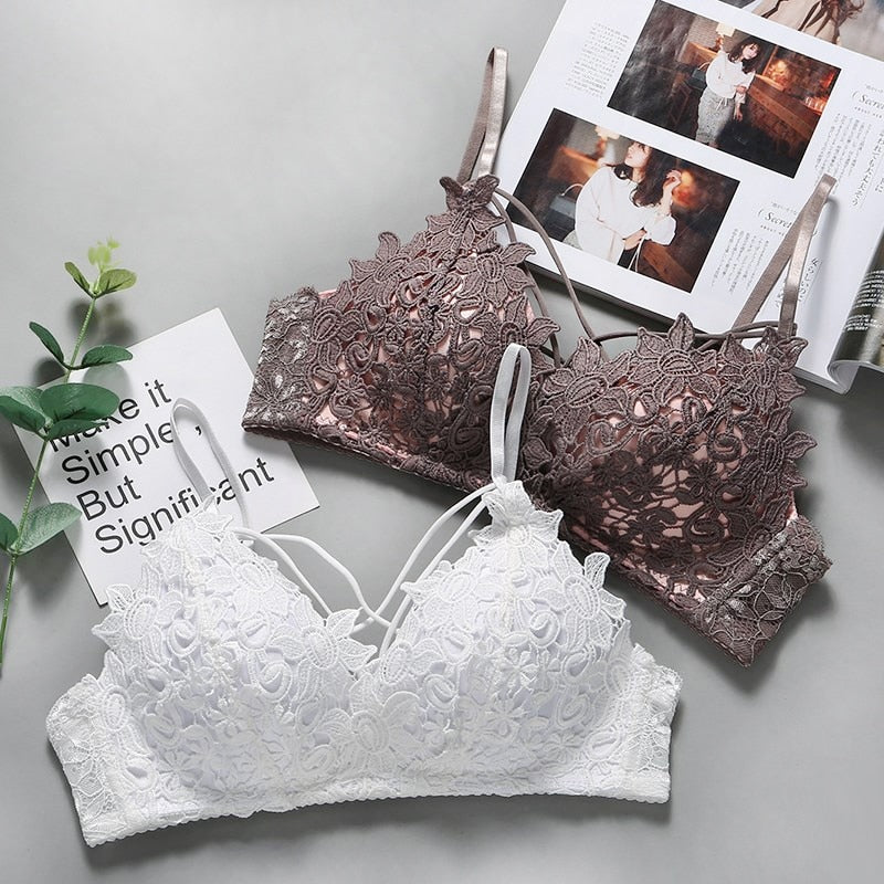 Lace Floral Embroidery Bralette Sexy  Bra