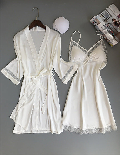 Robe & Gown Sets Night Dress with Chest Pads