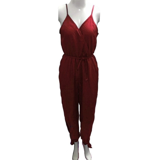 Solid Sexy V Neck Woman Dungarees Casual High Waist Romper Jumpsuit