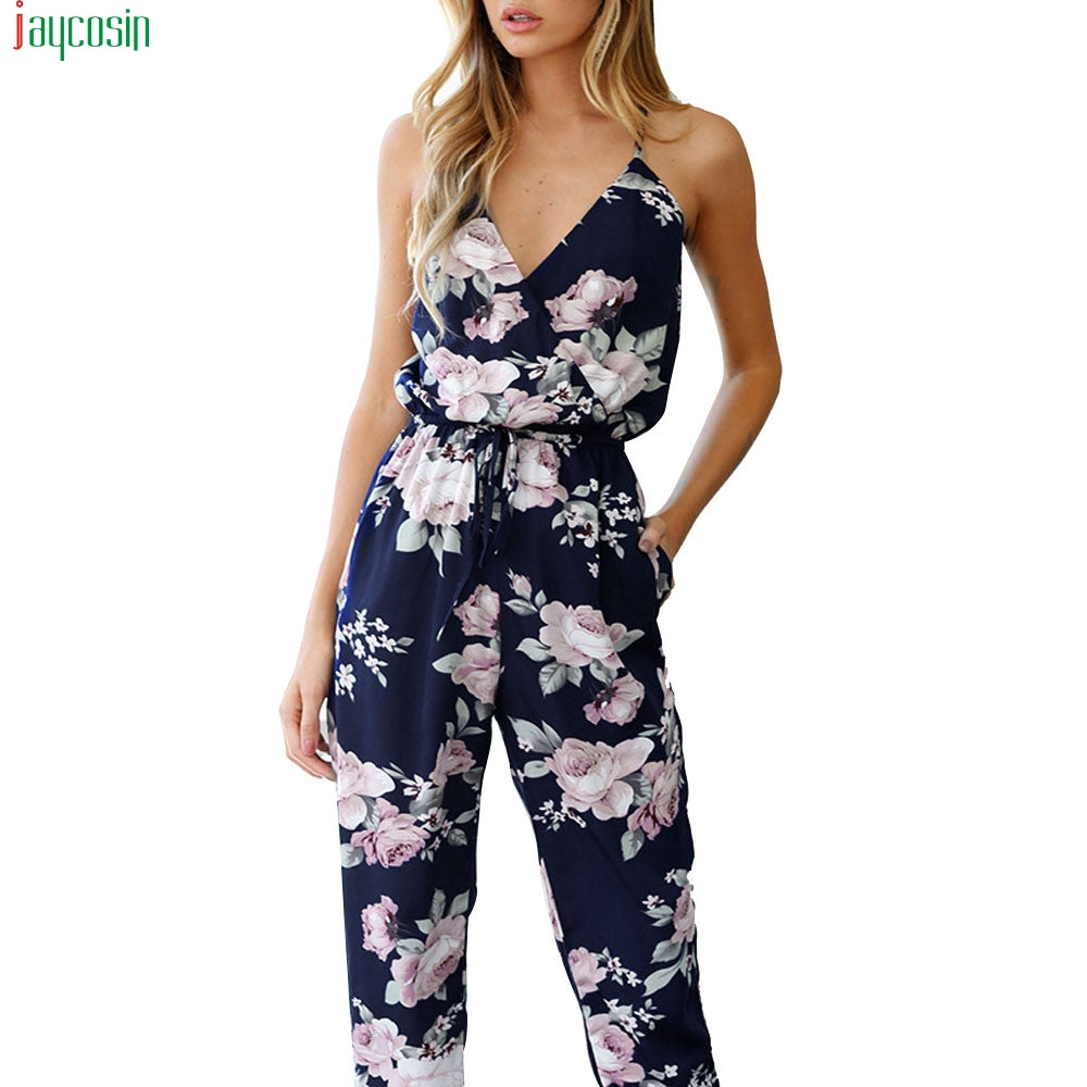JAYCOSIN sexy jumpsuit summer beach Women Jumpsuit Sleeveless V-Neck Floral Printed Playsuit Trousers bodysuit for women Pants