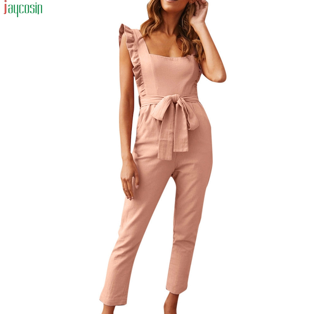 Shirred Frill Sleeves Pocket Jumpsuit