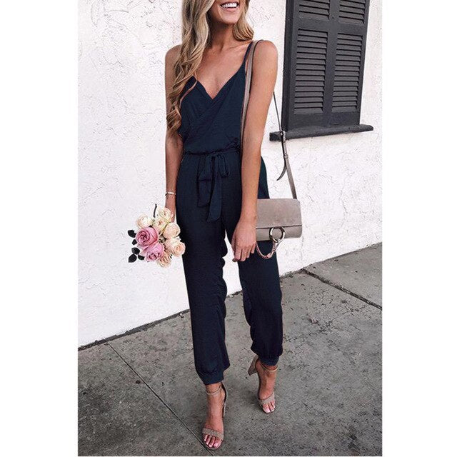 V-Neck Strapless Bandage Ruffled Sleeveless Long Jumpsuits