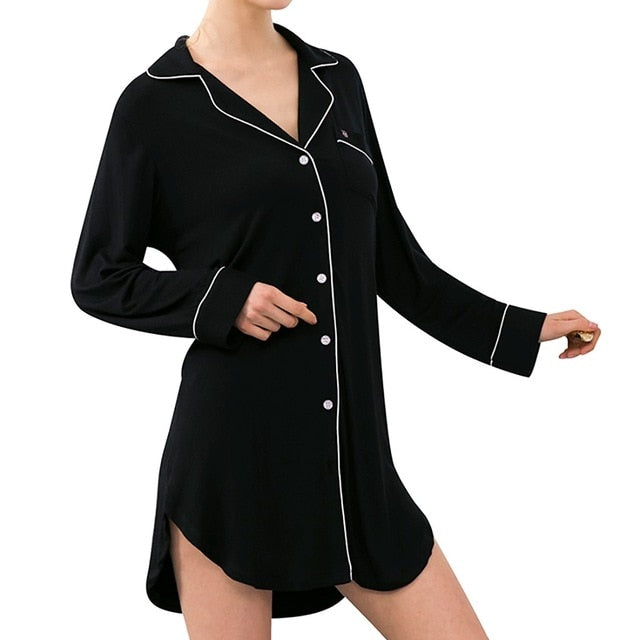 Women's Sexy Loose Long-Sleeved  Button Pajamas Comfortable